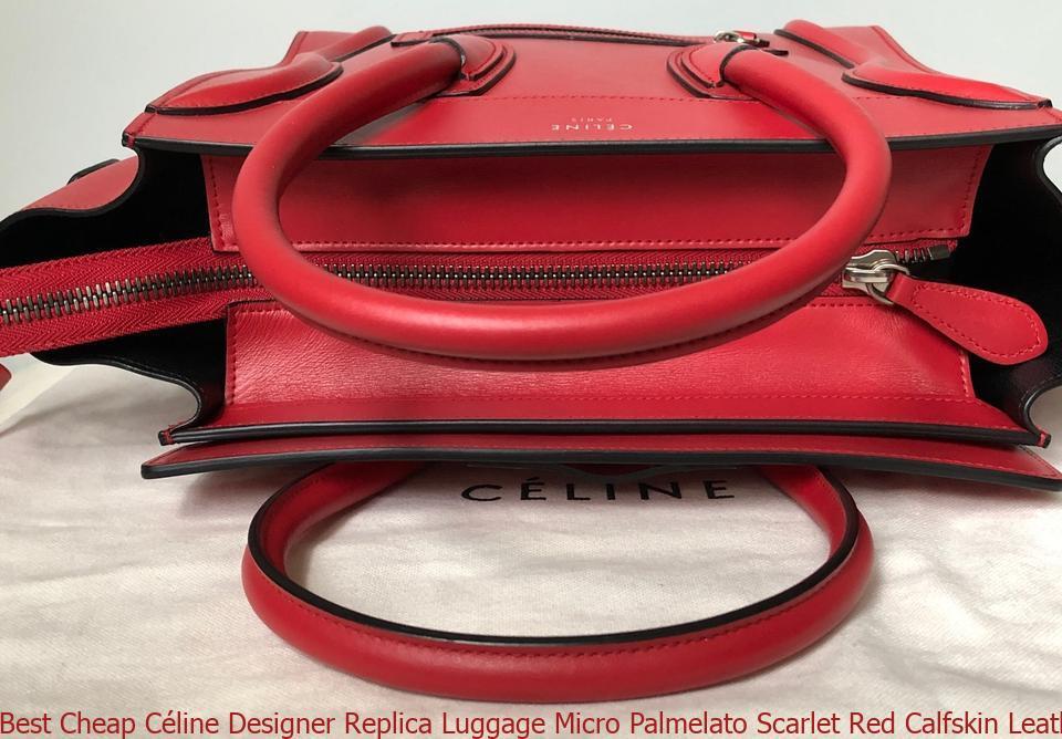58c6ae02a263 Best Cheap Céline Designer Replica Luggage Micro Palmelato Scarlet Red  Calfskin Leather Tote celine nano bag
