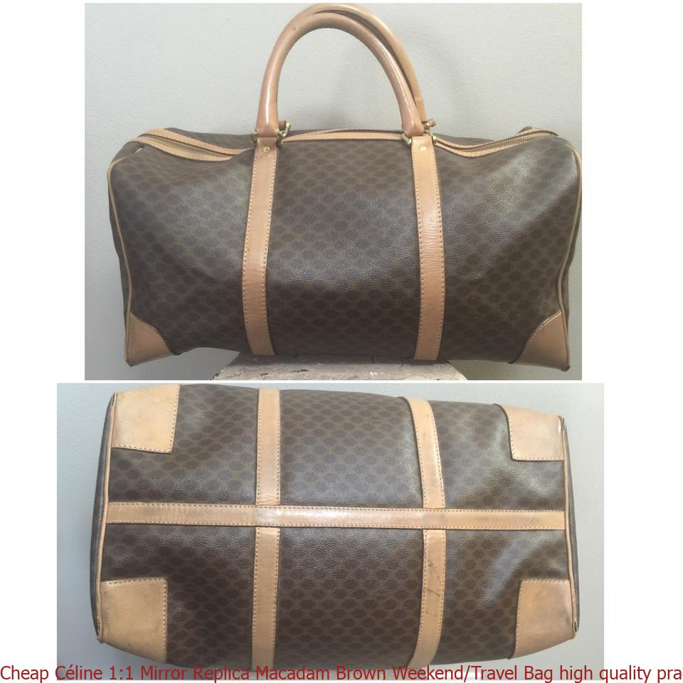 76bcf1dc2ba0 Cheap Céline 1 1 Mirror Replica Macadam Brown Weekend Travel Bag high  quality prada replica handbags