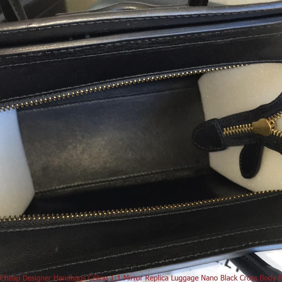 3b57bffa7cccb8 Cheap Designer Handbags Céline 1:1 Mirror Replica Luggage Nano Black Cross  Body Bag celine replica frame