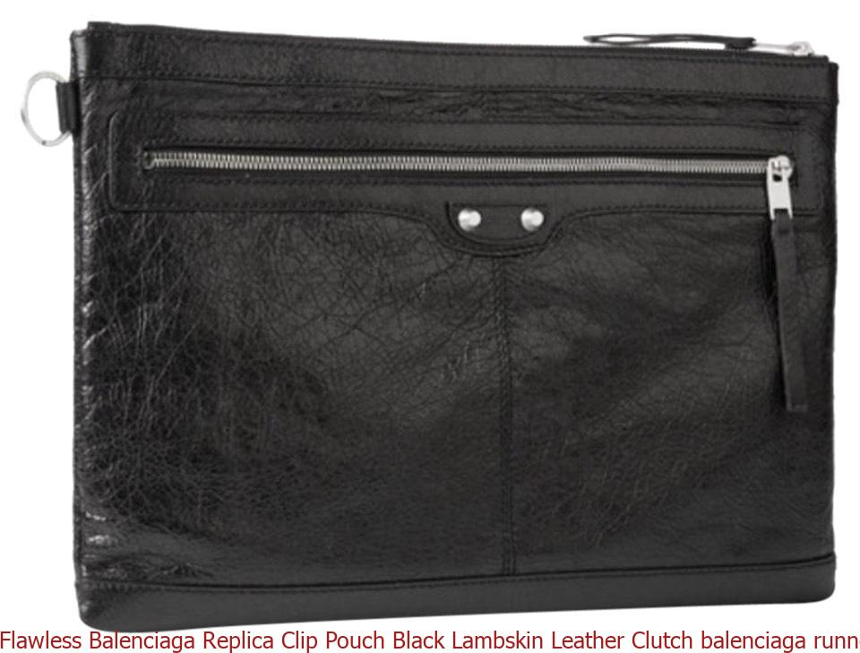 a1a34e68eb1 Flawless Balenciaga Replica Clip Pouch Black Lambskin Leather Clutch  balenciaga runners
