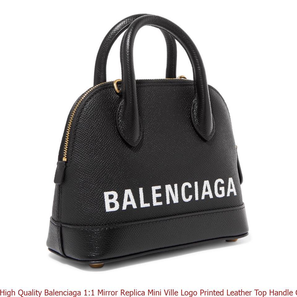 High Quality Balenciaga 1 1 Mirror Replica Mini Ville Logo Printed Leather  Top Handle Cross Body Bag balenciaga triangle bag d7530d35ff3cc