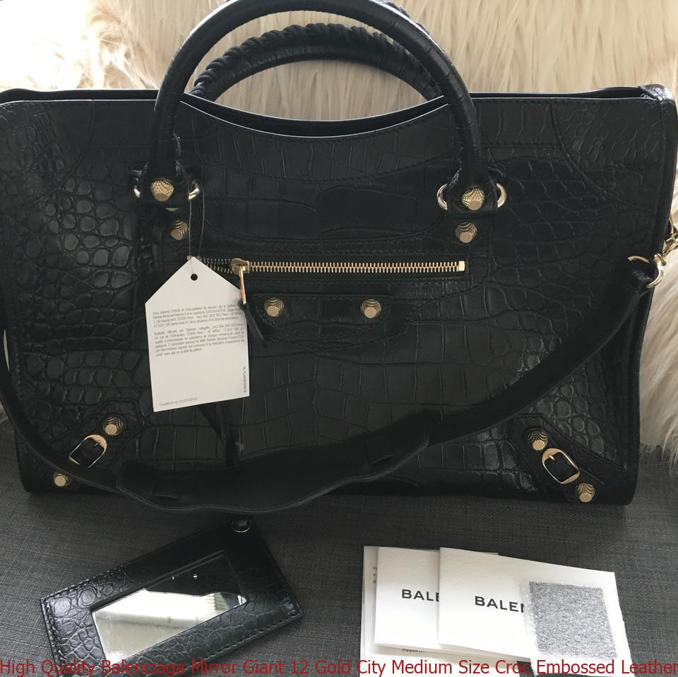 6377346ab0a High Quality Balenciaga Mirror Giant 12 Gold City Medium Size Croc Embossed  Leather Black Calfskin Satchel balenciaga runners