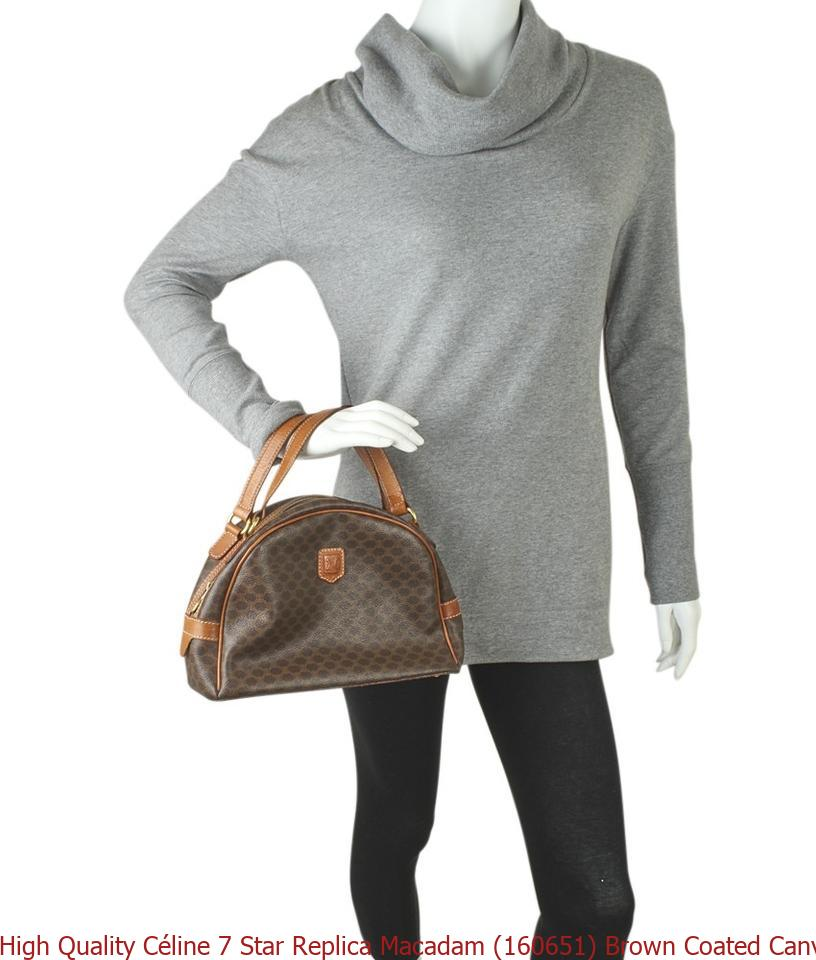 092e1ef4c797 High Quality Céline 7 Star Replica Macadam (160651) Brown Coated Canvas Satchel  celine big bag