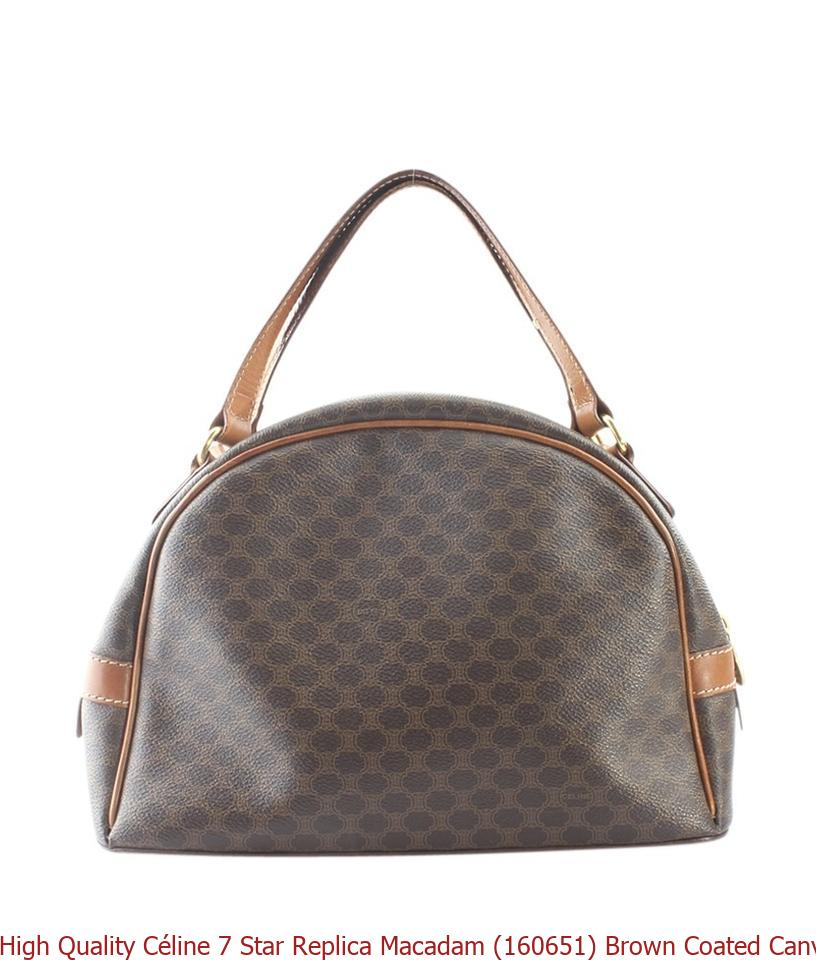 4b7445214731 High Quality Céline 7 Star Replica Macadam (160651) Brown Coated Canvas  Satchel celine big bag