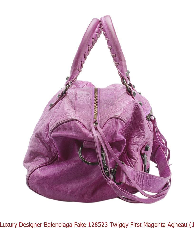 d3b08bc9f48 Luxury Designer Balenciaga Fake 128523 Twiggy First Magenta Agneau (143397)  Pink Leather Satchel balenciaga city bag