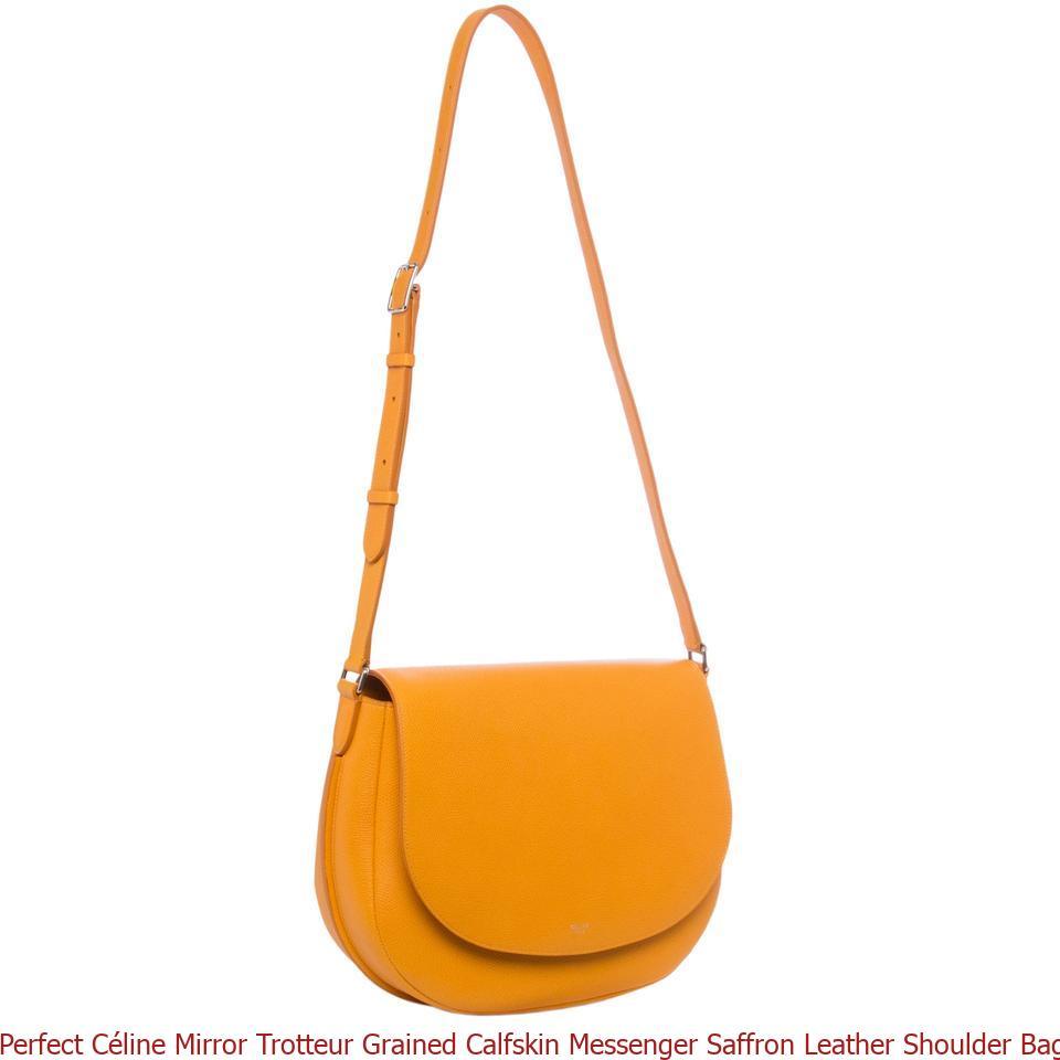 Perfect Céline Mirror Trotteur Grained Calfskin Messenger Saffron Leather Shoulder  Bag celine bag replica 6e21f295f0213