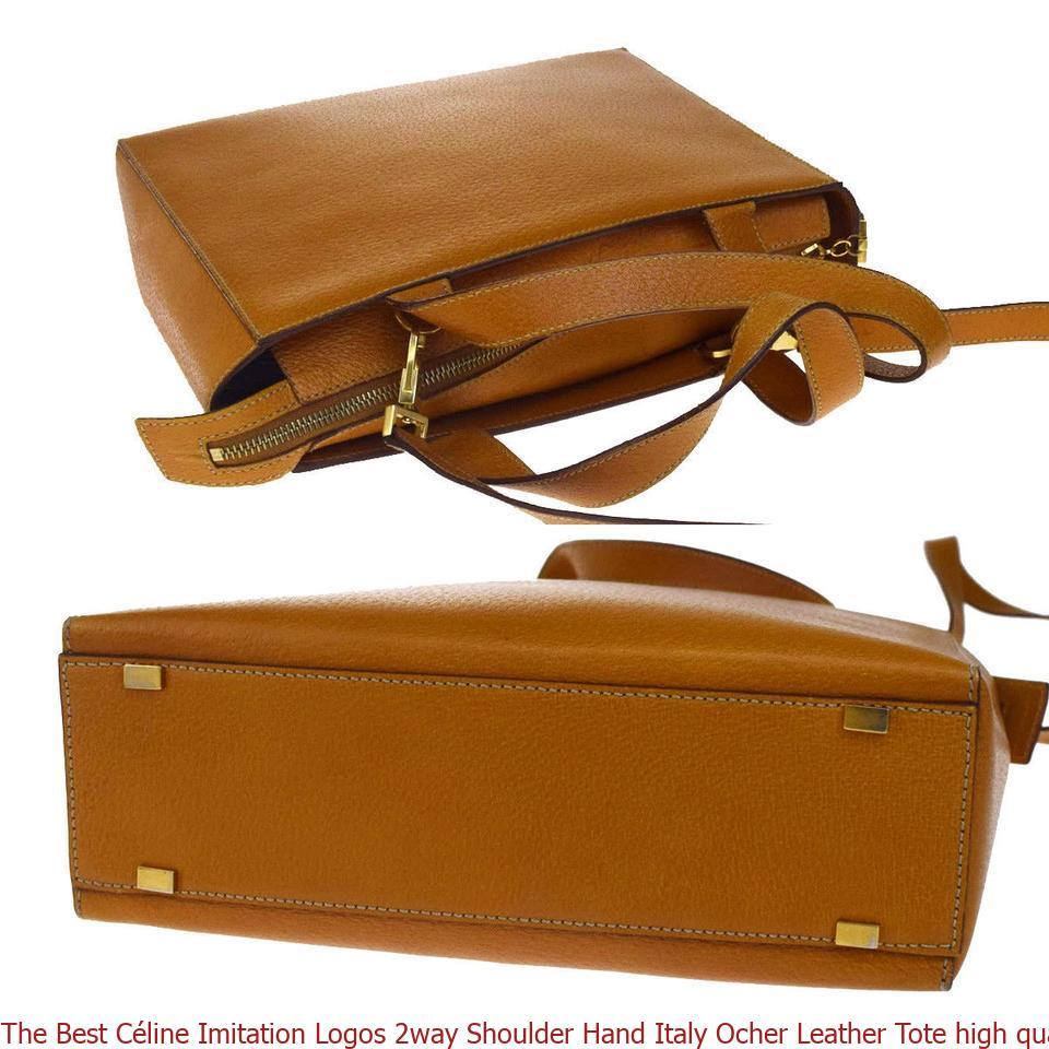 The Best Céline Imitation Logos 2way Shoulder Hand Italy Ocher Leather Tote  high quality replica handbags china