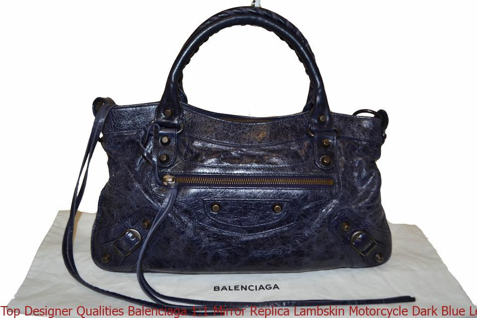 Top Designer Qualities Balenciaga 1 1 Mirror Replica Lambskin Motorcycle  Dark Blue Leather Shoulder Bag balenciaga replica bag 8e4b280cb3844
