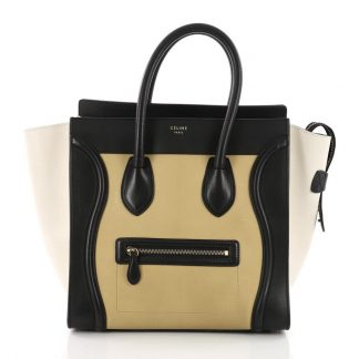91dca5aba Top Designer Qualities Céline Knockoff Luggage Tricolor Handbag Mini Yellow  Off White and Black Leather Tote celine replica crossbody