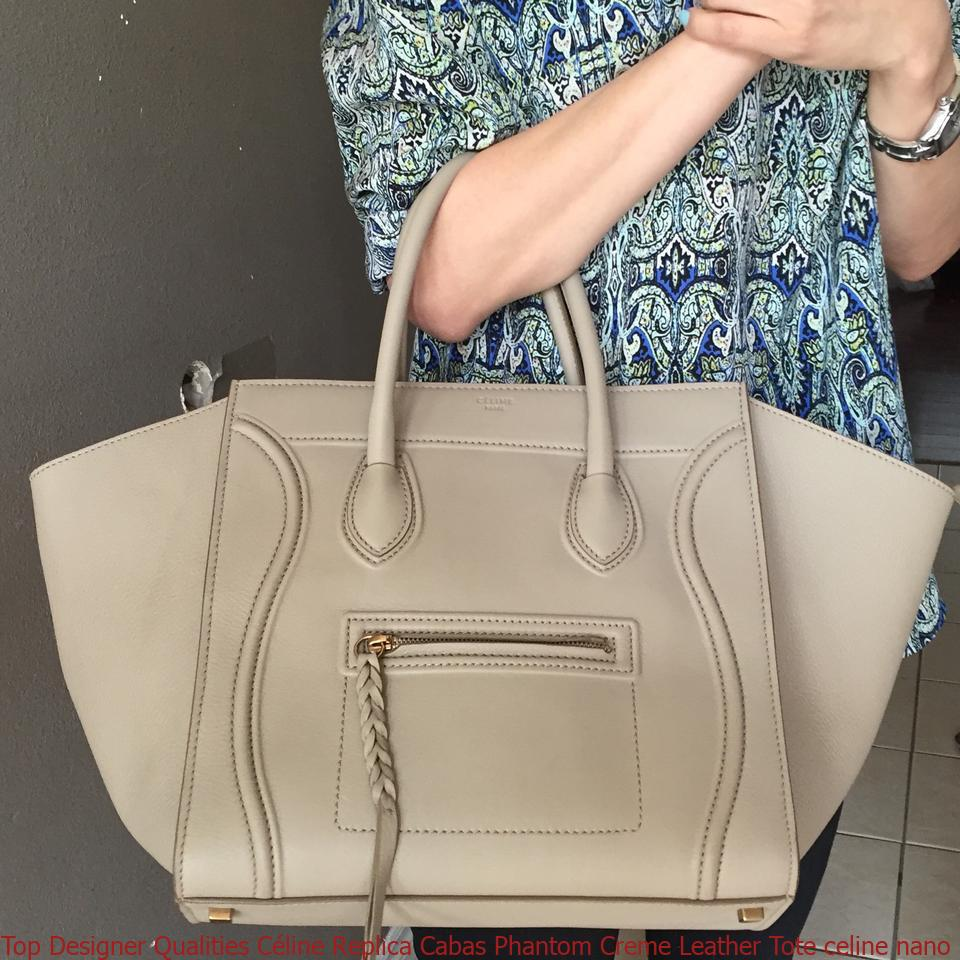 f863488090a6 Top Designer Qualities Céline Replica Cabas Phantom Creme Leather Tote  celine nano