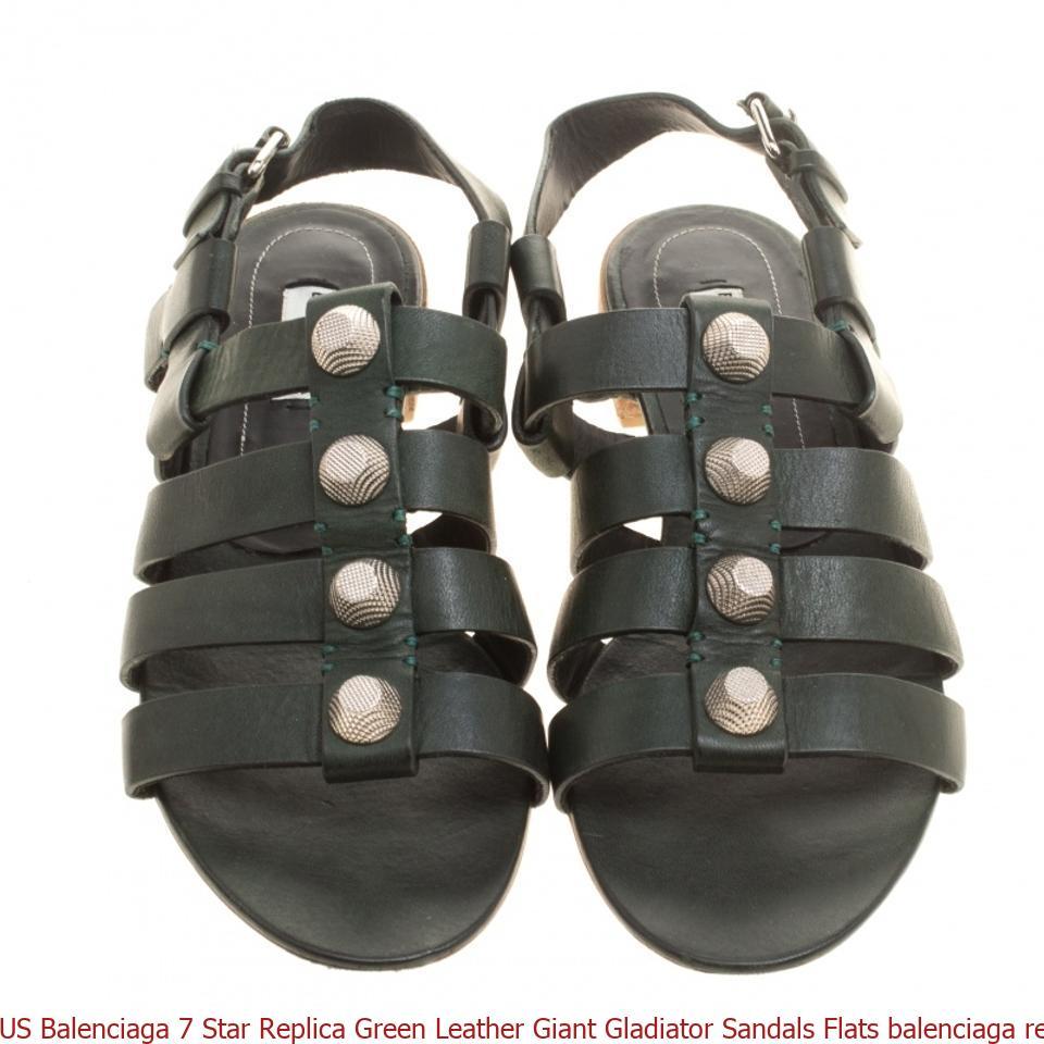 aefc30555328 US Balenciaga 7 Star Replica Green Leather Giant Gladiator Sandals Flats  balenciaga replica bag 2019
