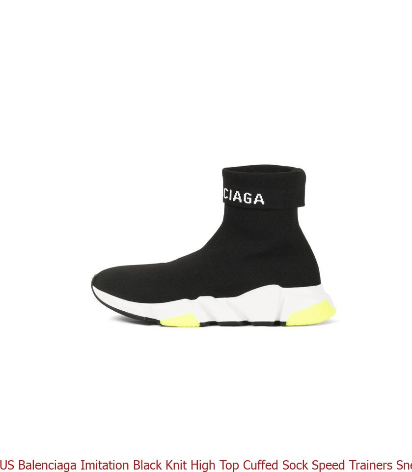 07c1f89e416c6 M 5bc2b49b45c8b3fdd213d24c Source · US Balenciaga Imitation Black Knit High  Top Cuffed Sock Speed